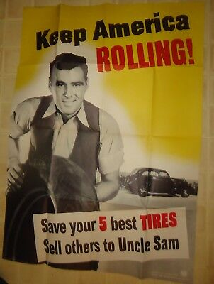 Original Government 1942 WWII Keep America Rolling Car Tire Recycle Poster