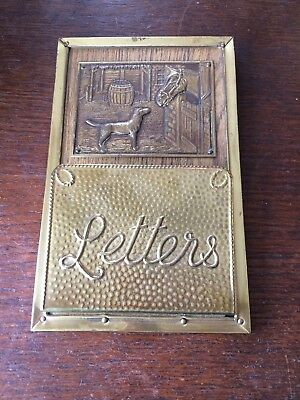 Vintage Brass Letter Rack with Engraved Picture.