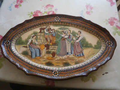 Grand Plat Oval Faience Estampille H.b.quimper 1920 1930