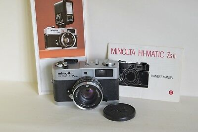 MINOLTA 7sII 35mm CAMERA FILM TESTED WITH CASE INSTRUCTIONS BROCHURE