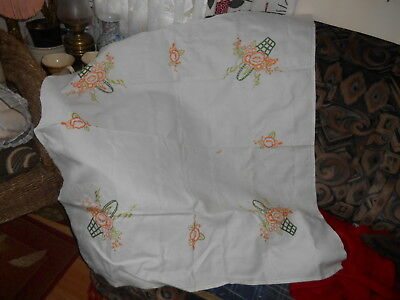 Vintage 1950S Hand Embroidered  With Baskets Of Flowers  Linen Table Cloth 41X41
