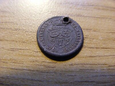 Tiny 1902 two Shilling Token - holed Condition 12mm Dia