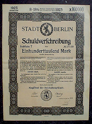 2 x German Government, City of Berlin 8-18% Bonds 1923 uncancelled + coupons