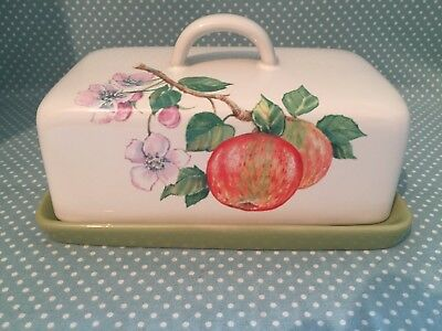 Vintage Arthur Wood pottery Fruit Grove design butter or cheese dish.
