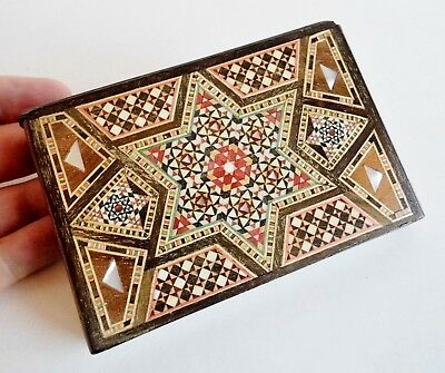 Most Unusual Antique Wooden Cigarette Case - Finely Inlaid Mosaic Pattern