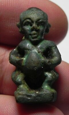 Zurqieh -As3062- Ancient Egypt , Faience Amulet Of Pataikos. 600 - 300 B.c