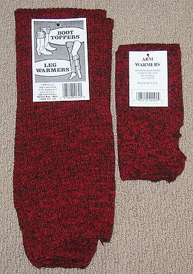 Leg warmers 2 pair RED Denim look Made in the USA Warm NWT FREE S/H