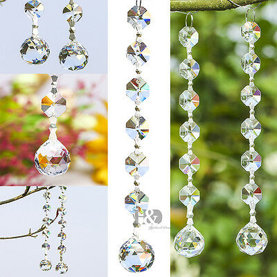 10PCS Clear Crystal Beads Chandelier Lamp Hanging Wedding Party Venue Decor
