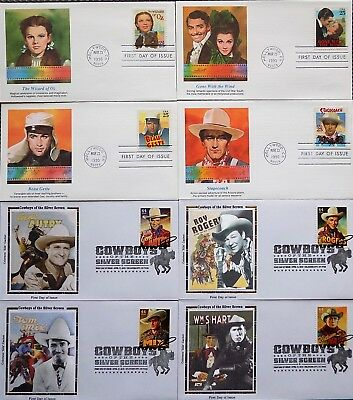 HOLLYWOOD & COWBOYS of the SILVER SCREEN ~ LOT x 8 FDC'S ~ GONE WITH THE WIND++