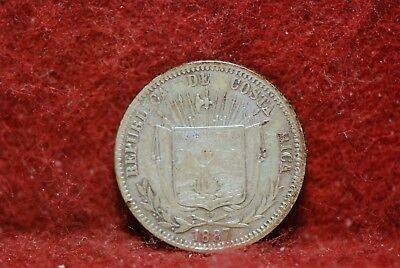Costa Rica, 1887 10 Centavos, silver, Extremely Fine, Or Best Offer,         5fs