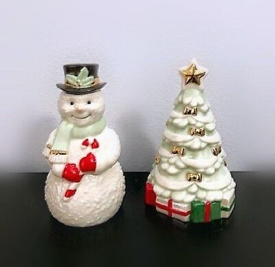 Lenox Snowman and Christmas Tree Salt and Pepper Shakers NEW IN BOX