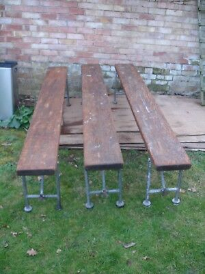 Three vintage softwood Folding Benches Industrial Seaman's Mess Stools