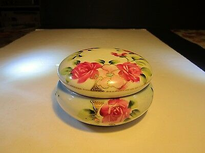 Fancy Old Nippon Red Roses Decorated Porcelain Ladies Covered Powder Jar
