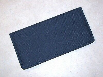 NAVY BLUE fabric checkbook cover stitched edges