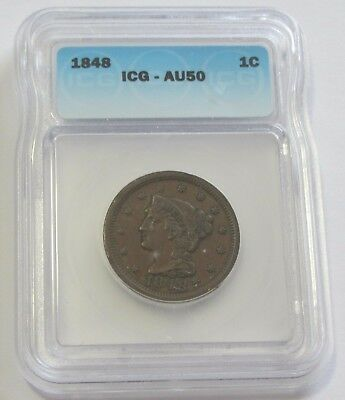 1848 Large Cent Icg Au 50 Almost Uncirculated