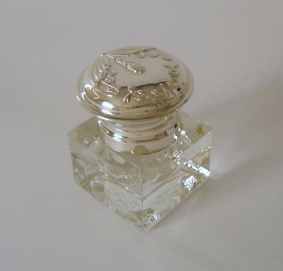 An Ornately Embossed Solid Silver Lidded Glass Inkwell Lisbon Portugal