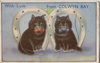 LOUIS WAIN STYLE LUCKY BLACK CAT NOVELTY PULL OUT FROM COLWYN BAY  pu 1933