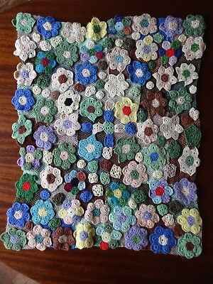 Vintage Granny Blanket Knitted Squares with Crochet Flower Motifs