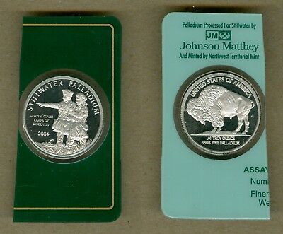 2004 Stillwater Lewis and Clark 1/4 oz .9995 UNC Palladium Coin