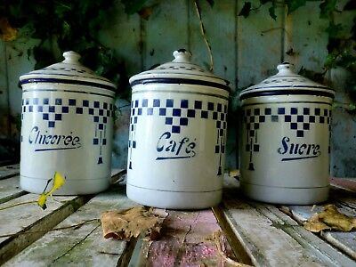 French Art Nouveau Enamel Canisters  French Art Deco Enamel Canisters