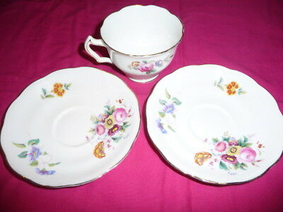 GEORGE JONES & SONS - CRESCENT - Cup & Saucers - FLORAL PATTERN - JUNETIME