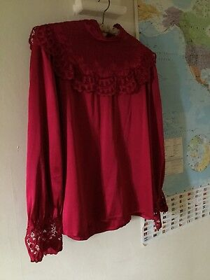 Vintage Antique Pink Red Silk Blouse Ruffled lace Collar Victoriana Retro 10/12