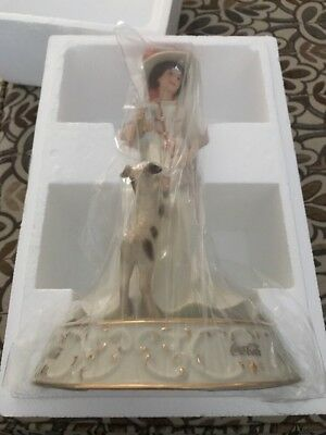 Large 1999 Lenox Coca Cola Lady And Dog Figurine Afternoon Refreshments