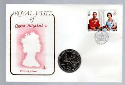 (B497) 1989 Isle Of Man, Royal Visit Of Queen Elizabeth Ii, First Day Coin Cover