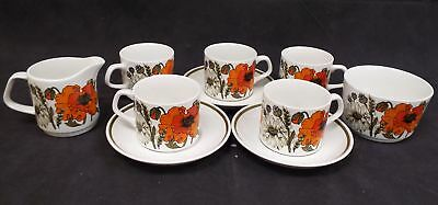 J&G MEAKIN Studio 10 Pieces Poppy Tea/Coffee Set Made In England - B94