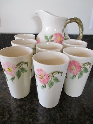 USA Franciscan Ware  Desert Rose Large Pitcher with 7 Tumblers