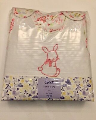 Baby Sleeping Bag 6-18 Months 2.5 Tog 100% Cotton PINK BUNNY NEW & SEALED