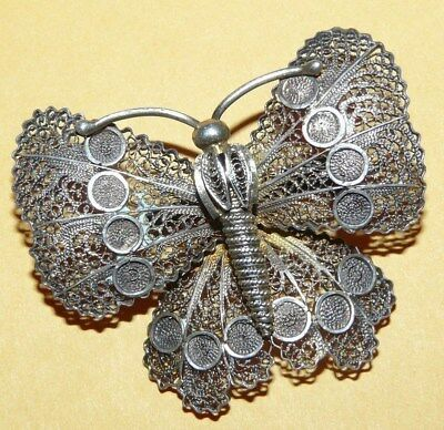 """Vintage~Antique~Victorian~Sterling~Silver~Ornate~Filigree~""""butterfly""""~Pin~Brooch"""