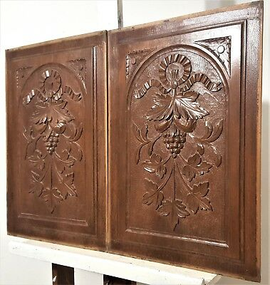 Pair Hand Carved Wood Panel Antique French Gotic Bow Fruit Architectural Salvage