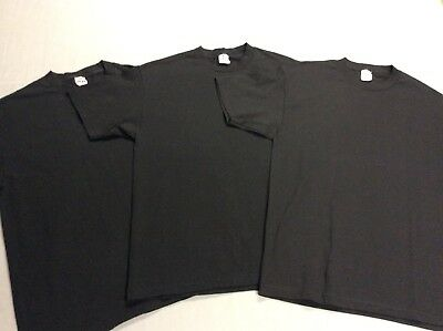 Vintage Set Lot Of 3 Aaa Mens Blank Black Crisp Clean Cotton Tee Shirts Large