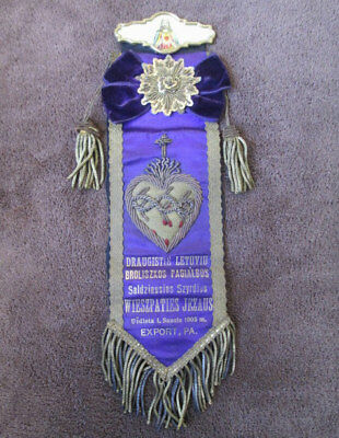 Beautiful – 1905 Lithuanian Two-Sided Religious Ribbon - Export PA