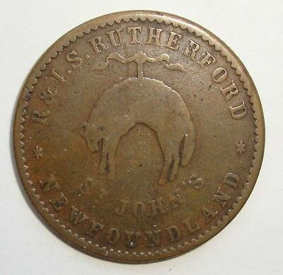 1841 R & I S Rutherford St Johns Newfoundland Half Penny Token Coin Nice