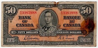 1937 Bank Of Canada Fifty 50 Dollar Bank Note Bh 3383888 Nice Bill Fancy Serial