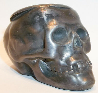 Antique Victorian Silverplate Figural Skull Match or Toothpick Holder