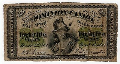 1870 Dominion Of Canada Twenty Five 25 Cent Shinplaster Bank Note Nice Bill
