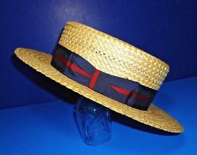 """30s Antique Mens Straw Hat """"The Mercury"""" Skimmer Boater Vaudville IMMACULATE! 7"""