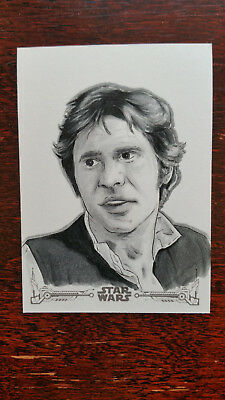 Jude Gallagher Han Solo Sketch Card 2018 Star Wars New Hope Black & White