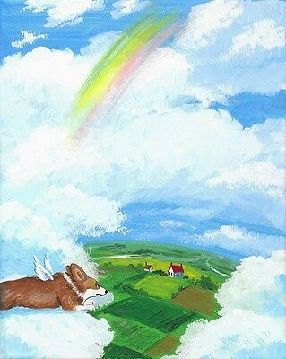 Original Painting Ryta Pembroke Welsh Corgi Rainbow Bridge Angel Whimsical House