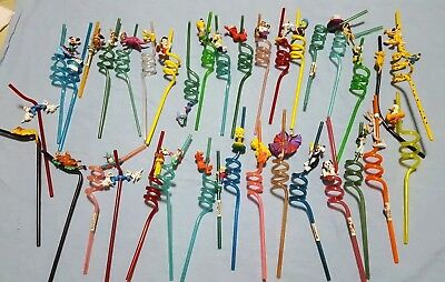 Lot of 36 Applause sippers Reusable Spiral crazy  Straws Looney tunes disney vtg