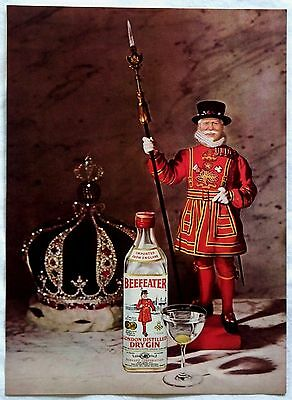 1968 Beefeater London Distilled Dry Gin Original Magazine Ad Print Tear Out