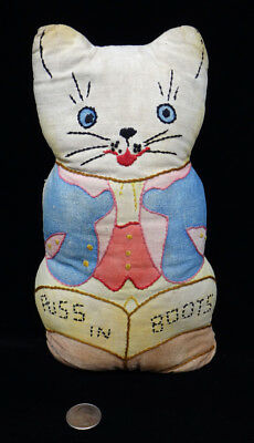 """vintage cloth PUSS IN BOOTS folk art KITTEN cat RAG DOLL embroidered 9"""" pillow"""