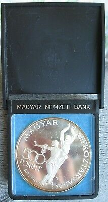1980 HUNGARY Silver Proof 500 Forint Figure Skaters-LAKE PLACID