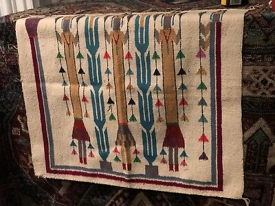 Auth: 1930's Antique Navajo Rug Blanket  Powerful American Indian Art  3x3 NR