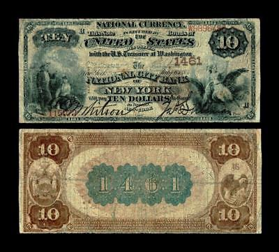 New York, NY - $10 1882 Brown Back Fr. 482 The National City Bank Ch. # 1461