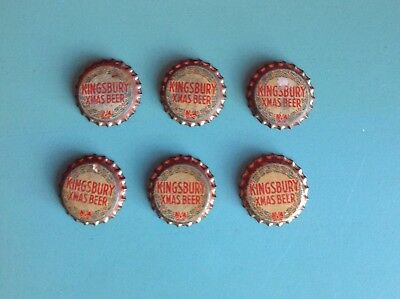 Kingsbury Lot Of 6 Vintage Xmas Beer Cork Bottle Caps
