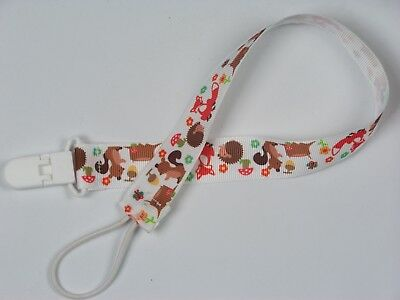 Extra long pacifier clip Forest Amimals